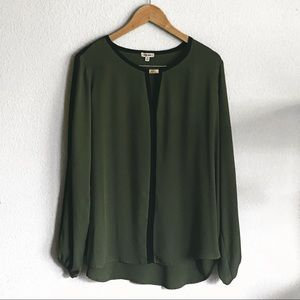 LIKE NEW! Woven Olive Green Top with Elastic Cuff!